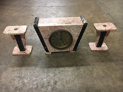 Art Deco Pink and Black Marble Clock Set Trapezoid Geometric Matching Side Piece