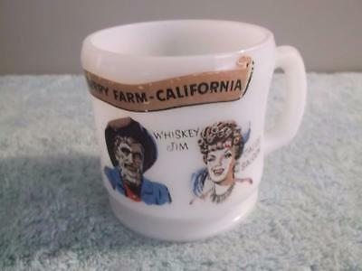 1950's Souvenir Knotts Berry Farm Coffee Mug Ghost Town Coffee Milk Glass Cup