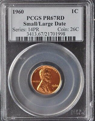 1960 Lincoln Cent Small/Large Date PCGS PR67RD Nice Red Color