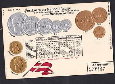 Danemark   Old Postcard With Coins Danish