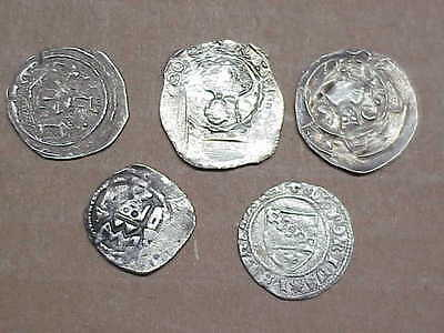 #510 Lot 5 Ancient Solid Silver Coins Byzantine Knights Templer Medieval 1000 A.