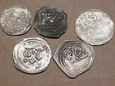 #513 Lot 5 Ancient Solid Silver Coins Byzantine Knights Templer Medieval 1000 A.