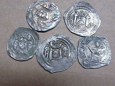 #518 Lot 5 Ancient Solid Silver Coins Byzantine Knights Templer Medieval 1000 A.
