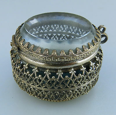 Antique Boxes : A unusual pierced French filigree Ring Box C.1890
