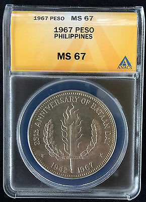 *** 1967  Philippines *  One Peso  * MS 67 * NONE GRADED HIGHER ***