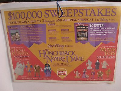 Burger King Placemat Trayliner - Disney Hunchback of Notre Dame- 1996