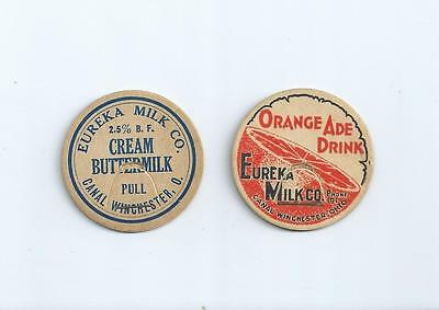 """Two different """"Eureka Milk Co.""""  Canal Winchester, O.  milk bottle caps."""