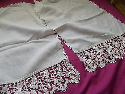 Pair Of Vintage Cotton & Lace Crochet Chair Back Covers