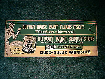 Du Pont Paint Service Store, Roanoke Cardboard Advertising Sign from the 1950s