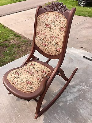 Vintage Wood Folding Rocker Rocking Chair with Tapestry Fabric (Seat Broken)