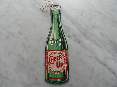 Vintage 1940's CHEER UP Soda Fan Pull Cardboard Advertising Diecut Bottle