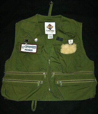 Vtg Mens COLUMBIA Fly Fishing Vest 10 Pocket Sherpa Patch Made In USA & 3 Extra