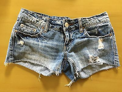 American Eagle Women's Stretch Jean Distressed Booty Short Shorts Size 0 EUC