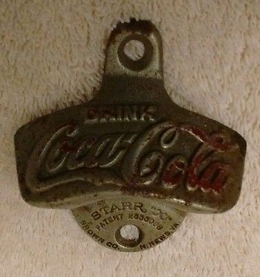 "Coca Cola Wall Mount Bottle Cap Opener ( Starr ""x"" Brown Co. N. News, Va. #22"