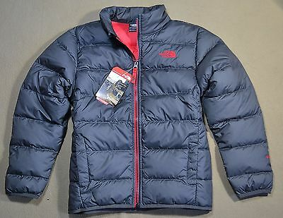 Nwt Boys The North Face Andes Gray Red Full Zip Down Jacket Coat Sz Xs-L