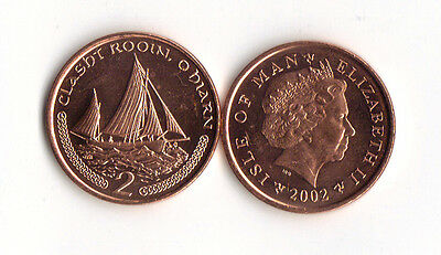 World Foreign Coins*ISLE OF MAN* 2 pence 2002 *SAILING SHIP*BRONZE* Lot Ag15*UNC