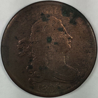 1806 Draped Bust Half Cent (Small 6) - Nice Rare Us Copper Coin