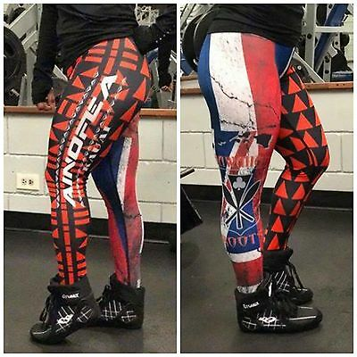 Compression pants- Hawaiian flag with tattoos- ( red and blue)-XS-4XL