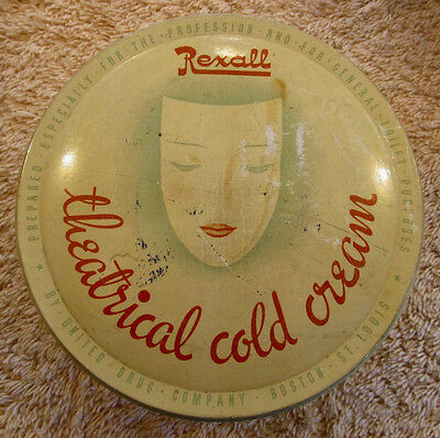 Vintage REXALL Theatrical Cold Cream Tin Litho Can RARE Professional Use Mask