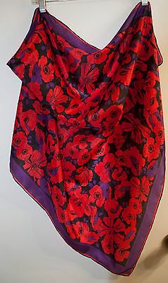 Scarf – Red Poppies on Purple