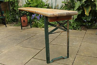 Vintage Industrial French Wooden & Metal Fold Away 1.8m School / Gym Bench