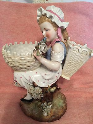 "Antique German Figurine  12"" Piano Baby  Porcelaine Pristine .or Centerpiece"