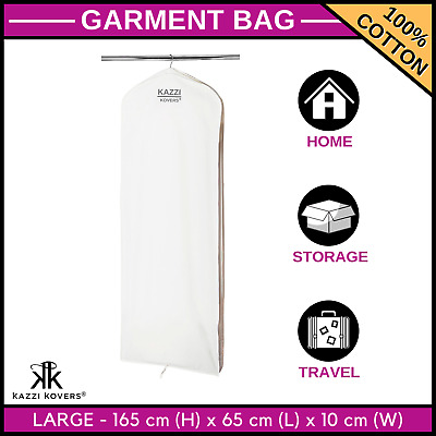 Large Garment Bag Wedding Dress Gown Coat Formal Breathable Cover 100%Cotton