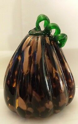 Hand Blown Glass Art Sculpture Gourd. Black, Dark Brown,gold. Green Stem. Nice