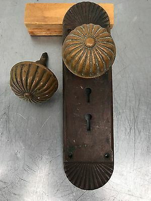 2  Matching Antique Brass Entry Door Knobs With  Matching Bass Face Plates