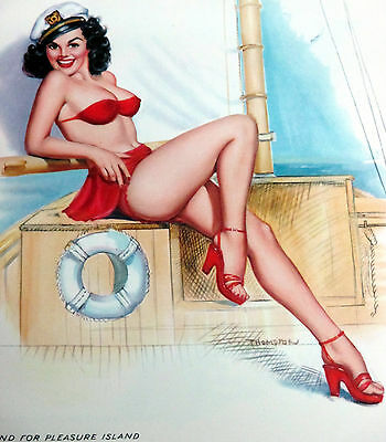 Thompson June 1959 18'' Pinup Calendar Page, 'bound For Pleasure Island'