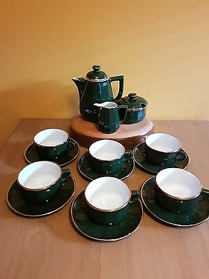 Apilco France Porcelain Green/Gold Coffee Set 15Pcs