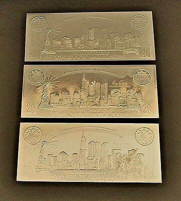 3 Silver Leaf .999 Republic of Liberia $20 Coin Certificates - September 11th