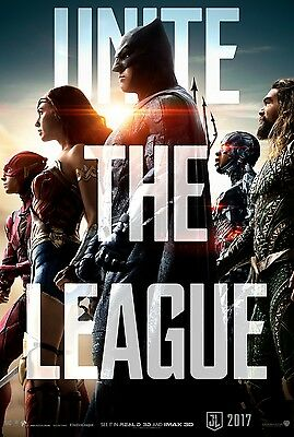 "JUSTICE LEAGUE 2017 Advance Teaser DS 2 Sided 27X40"" Movie Poster Batman Flash"