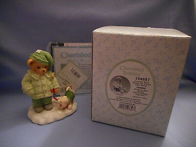 Cherished Teddies Figurine Louise Frolic in the Forest Girl with Puppy