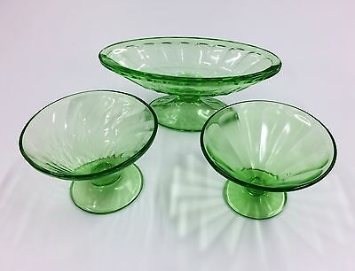 Set of 3 Vintage Green Glass Soda Fountain Dishes