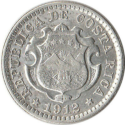 1912 Costa Rica 10 Centimos Silver Coin KM#146 Mintage 270,000