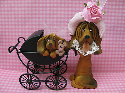 Handsculpted Bloodhound Mother and Baby Carriage Figurine