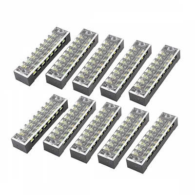 uxcell 600V 15A Dual Row 8 Position Screw Barrier Terminal Block Strip (Pack of