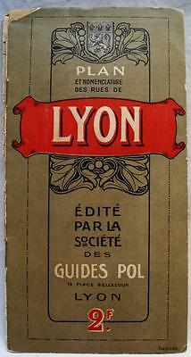 LYON FRANCE CITY STREET ROAD MAP AND INDEX BROCHURE GUIDE 1920s VINTAGE