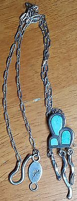 Signed Native American Indian Necklace Sterling Silver Turquoise Vintage