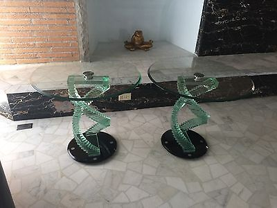 3 Vintage Mid Century Arreda Double Helix Sculptural End Tables Modern Art Glass