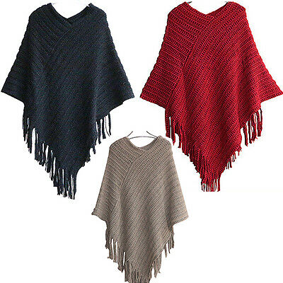 Women Knit Fringe Poncho Coat V Neck Loose Casual Knitwear Sweater Blouse Top AU