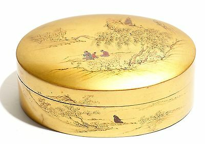 Vintage Gold Lacquer Oval Box Foochow Fuzhou Hand Painted Landscape Pagoda