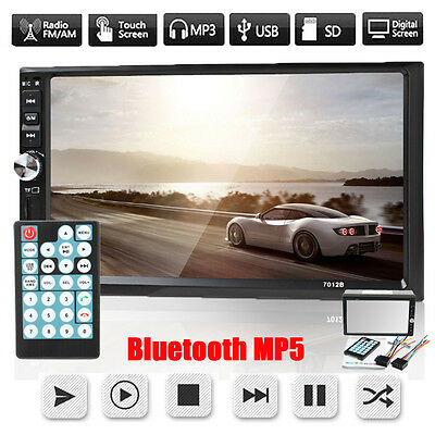 """Double 2 Din 7"""" Car Stereo DVD CD MP5 Player HD In Dash Bluetooth Radio Camera"""