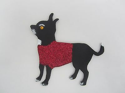 Chihuahua Magnet Black Chihuahua Red Glitter Sweater Wooden Dog Magnet