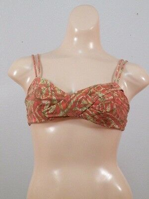 vtg 70s Catalina Part of the Art of Eve Swimsuit Bikini Top psychedelic print S