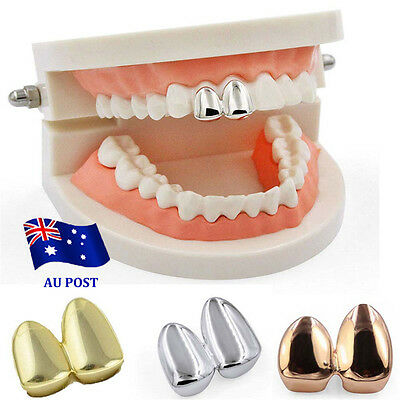 Hip Hop 14K Gold Plated Double Two Tooth Teeth Grillz Grill Canine Cap EA
