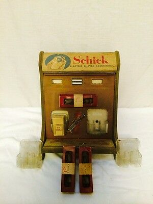 Vintage Wooden Schick Electric Shaver & Accessories Store Counter Display
