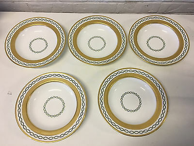 Antique Minton English Porcelain Set of 5 Bowls w Gold & Intertwined Wreath Dec.