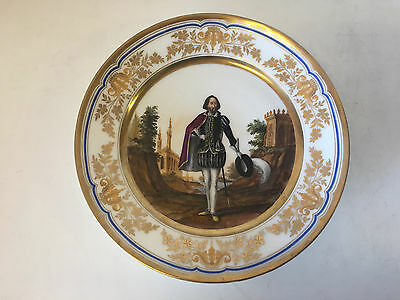 Antique French Old Paris Porcelain Cabinet Plate w/ Gentleman Man w/ Hat & Sword